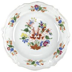 Doccia 'Tulip' Plate in Tin Glaze Porcelain, circa 1790