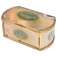 French Agate Box with Cold Painted Scenes of Versailles, circa 1760