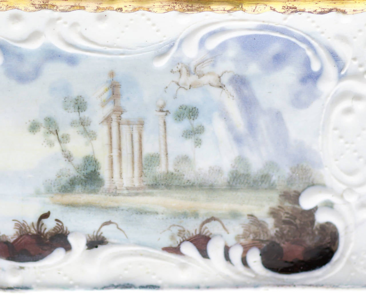 Quality English Enamel Box With Mythological Scenes Circa