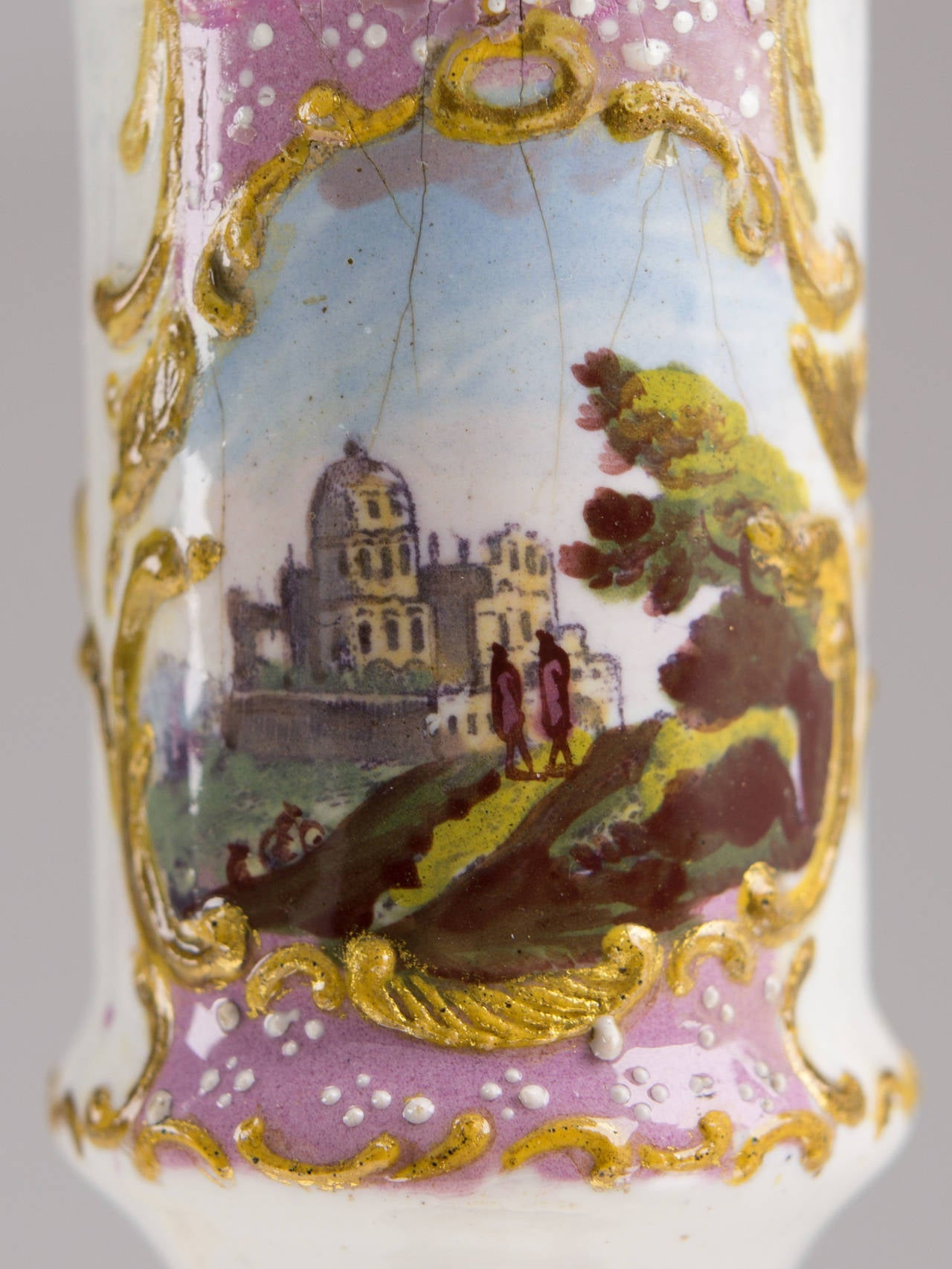 Pair of English Enamel Candlesticks with Rococo Scenes on Pink Ground, 1780 In Good Condition For Sale In Geelong, Victoria