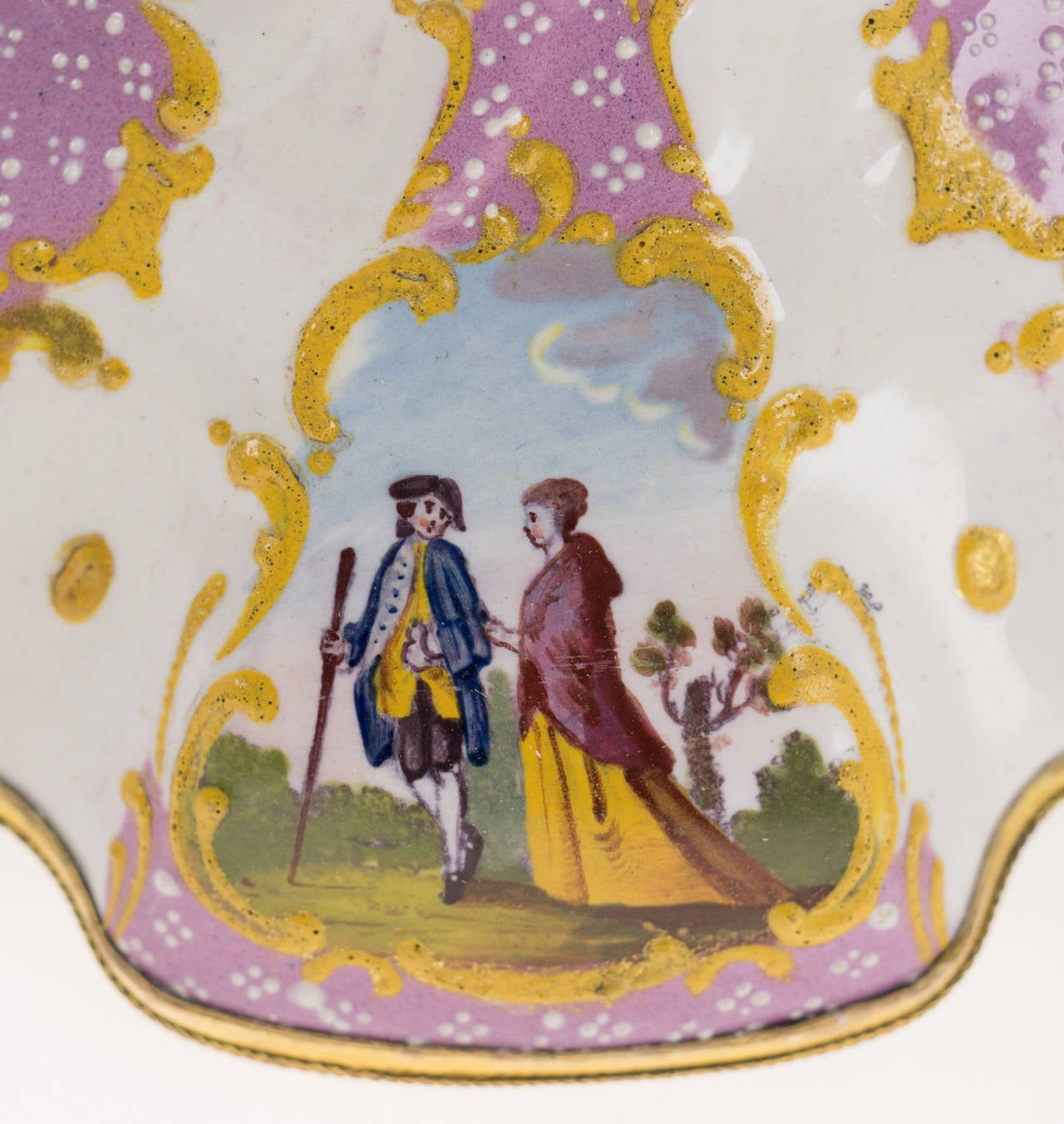 Pair of English Enamel Candlesticks with Rococo Scenes on Pink Ground, 1780 For Sale 2