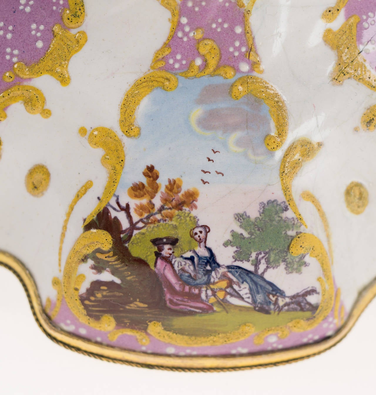 Late 18th Century Pair of English Enamel Candlesticks with Rococo Scenes on Pink Ground, 1780 For Sale