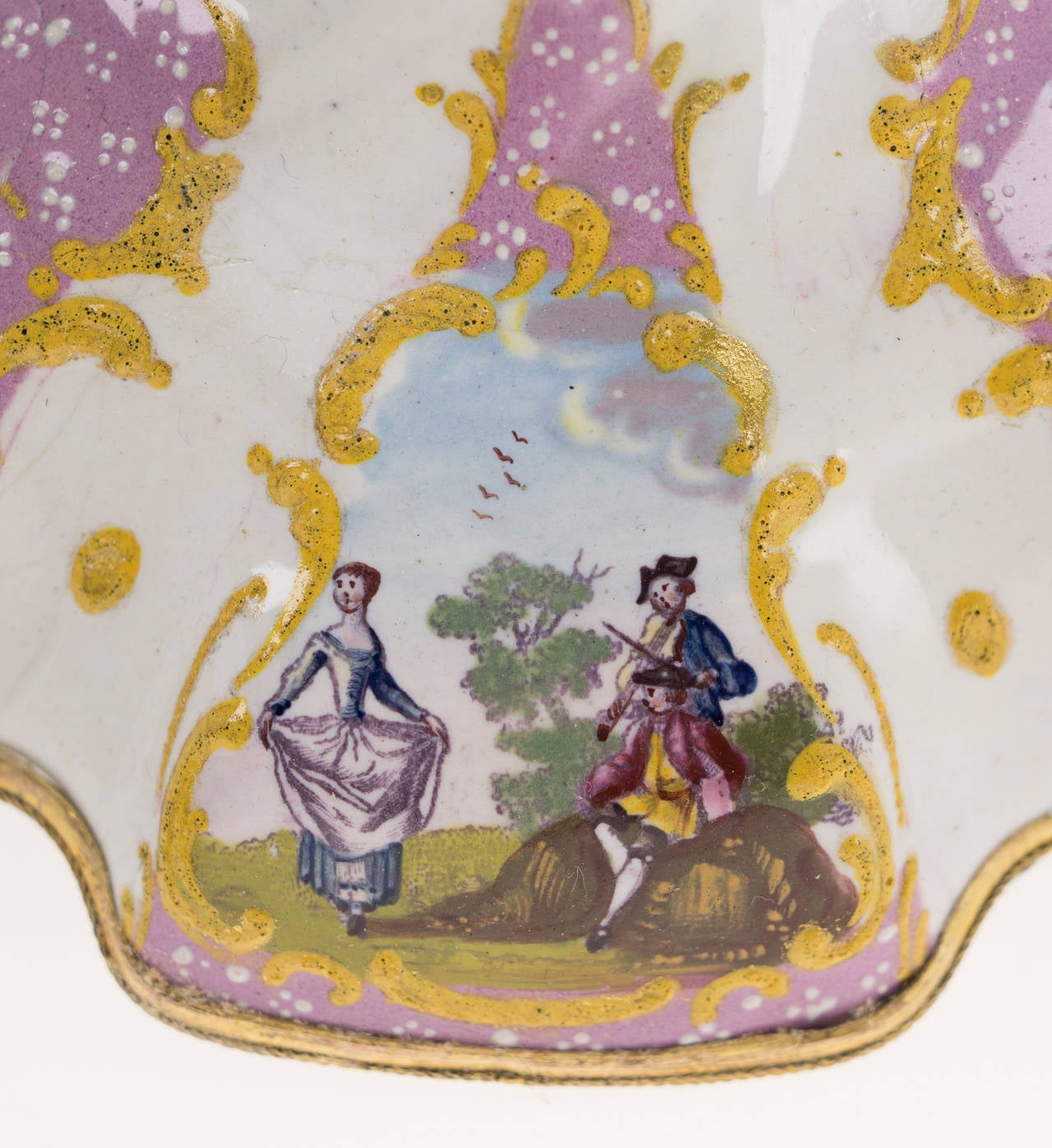 Pair of English Enamel Candlesticks with Rococo Scenes on Pink Ground, 1780 For Sale 3