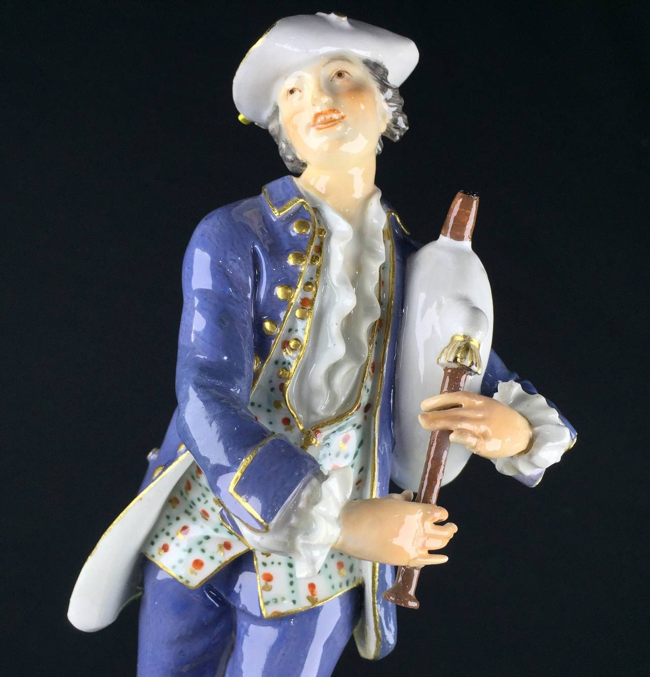 Meissen Figure of a Piping Shepherd, J.J. Kandler, circa 1755 In Fair Condition For Sale In Geelong, Victoria