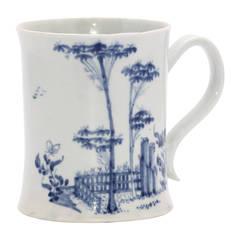 Worcester porcelain tankard, fenced garden pattern c.1754-56