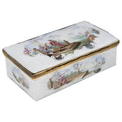 Quality English Enamel Box with Mythological Scenes, circa 1765
