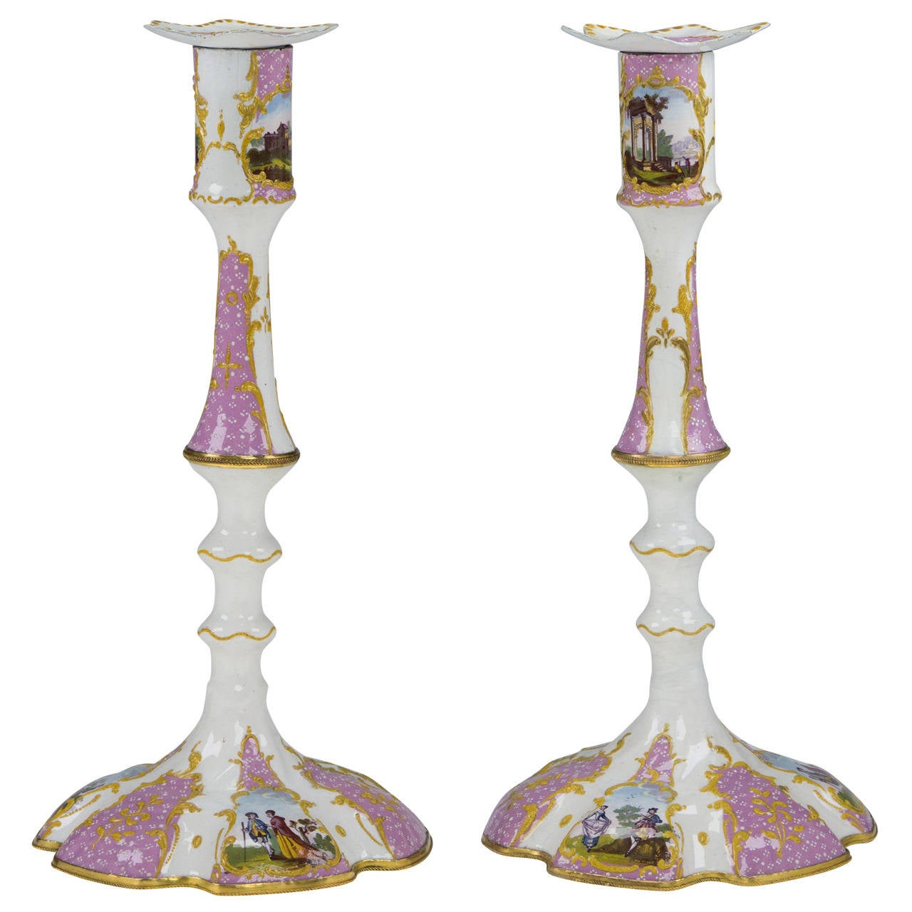 Pair of English Enamel Candlesticks with Rococo Scenes on Pink Ground, 1780 For Sale