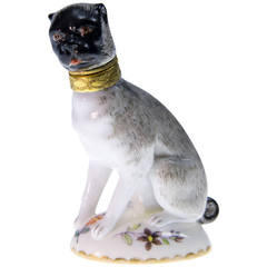 French porcelain pug dog perfume bottle, probably Samson, c. 1880
