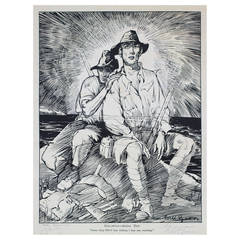 """""""A Voice from Anzac"""" after Will Dyson, Signed by WWI VC Winners and Monash, 1927"""