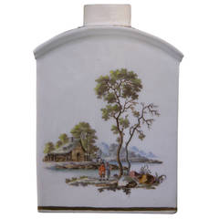 Zurich Porcelain Tea Canister with Landscapes, circa 1775