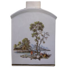 Zurich Porcelain Tea Canister with Landscapes, circa 1775