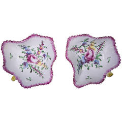 Pair of Bow Leaf Pickle Dishes, Flower Decorated, circa 1765