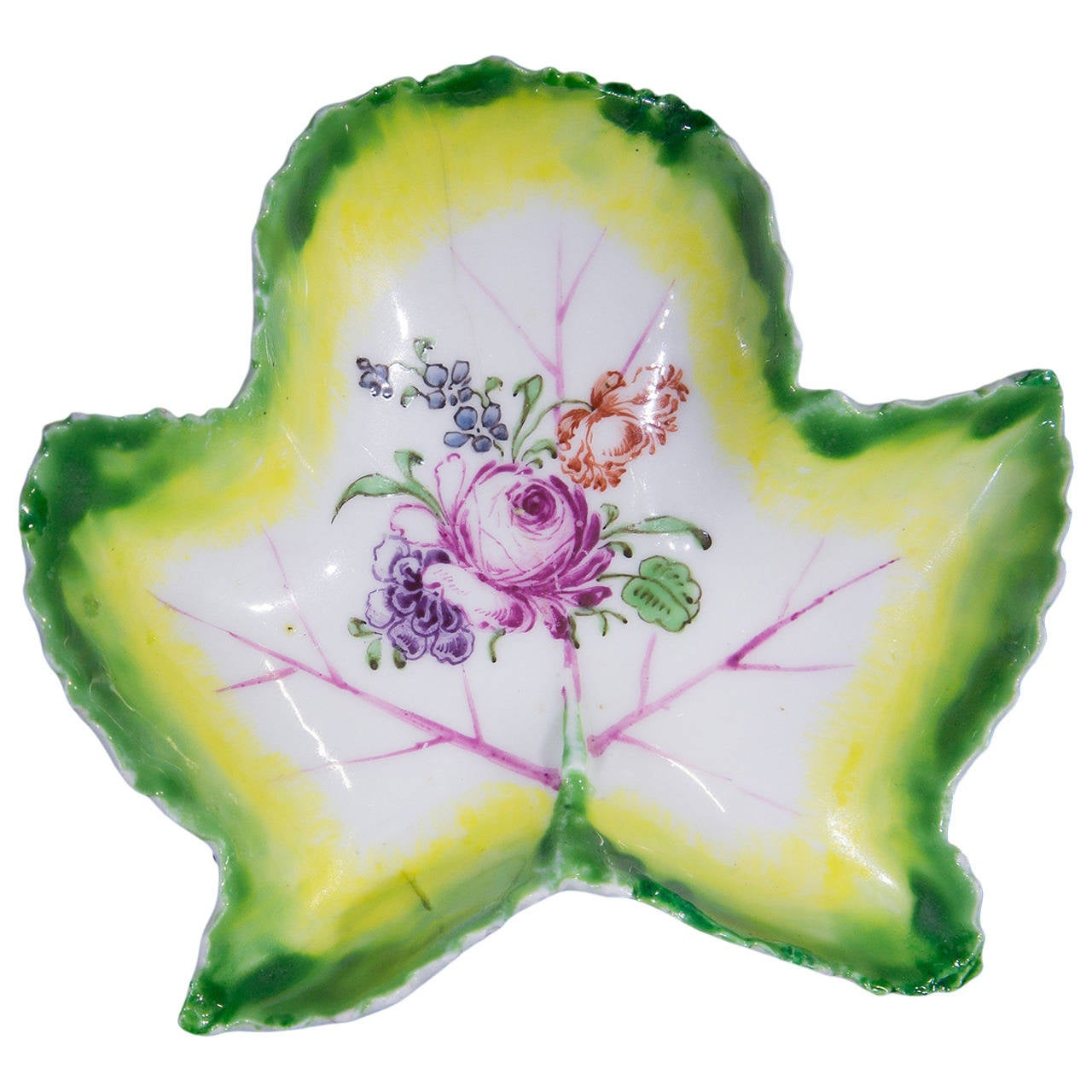 Longton Hall Pickle Leaf Dish, Trembly Rose Painter, circa 1755