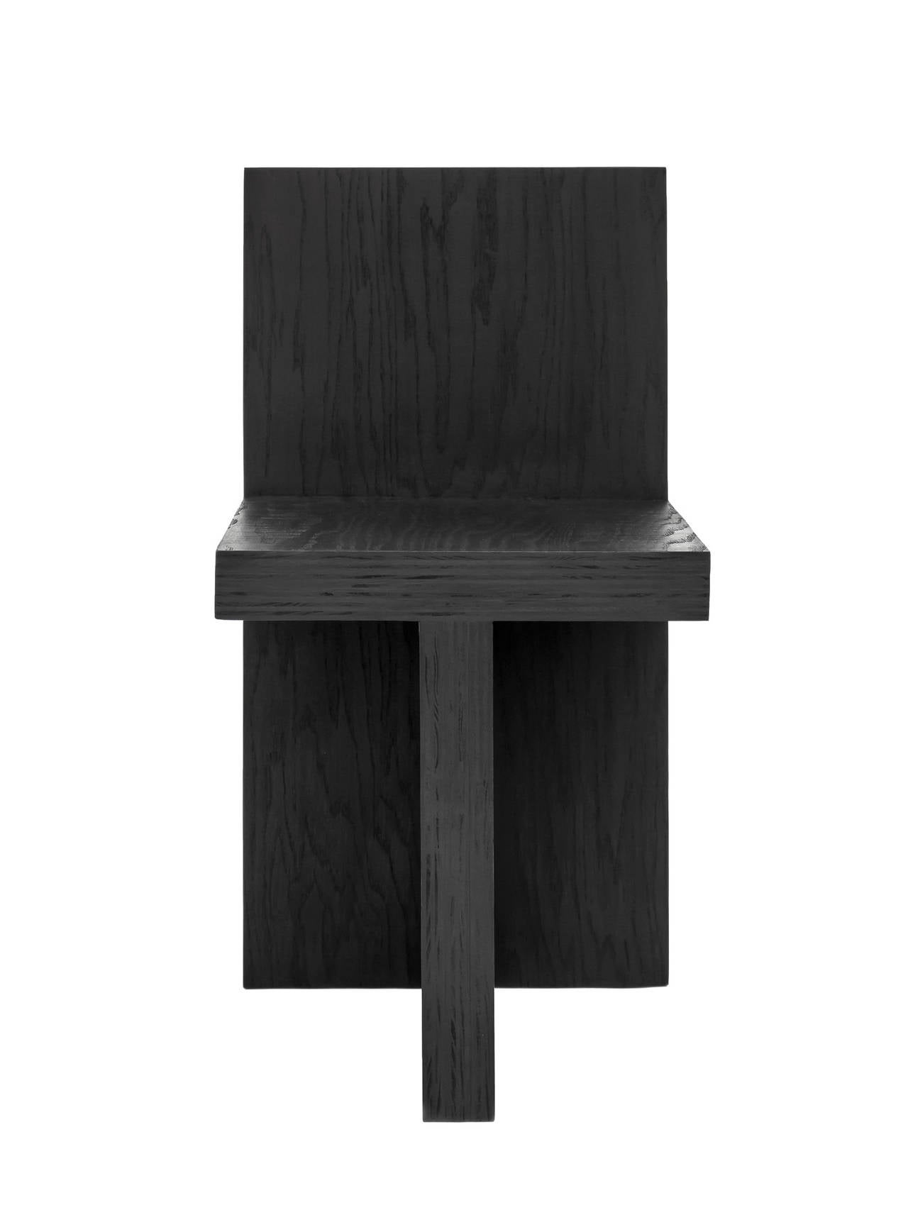 'Monument  IV' Plywood Chair in Black by Lukas Machnik available from LMD/studio.   A few months prior to shooting NBC's American Dream Builders, Lukas Machnik launched MONUMENT, a collection of minimal hardwood furniture composed of intersecting