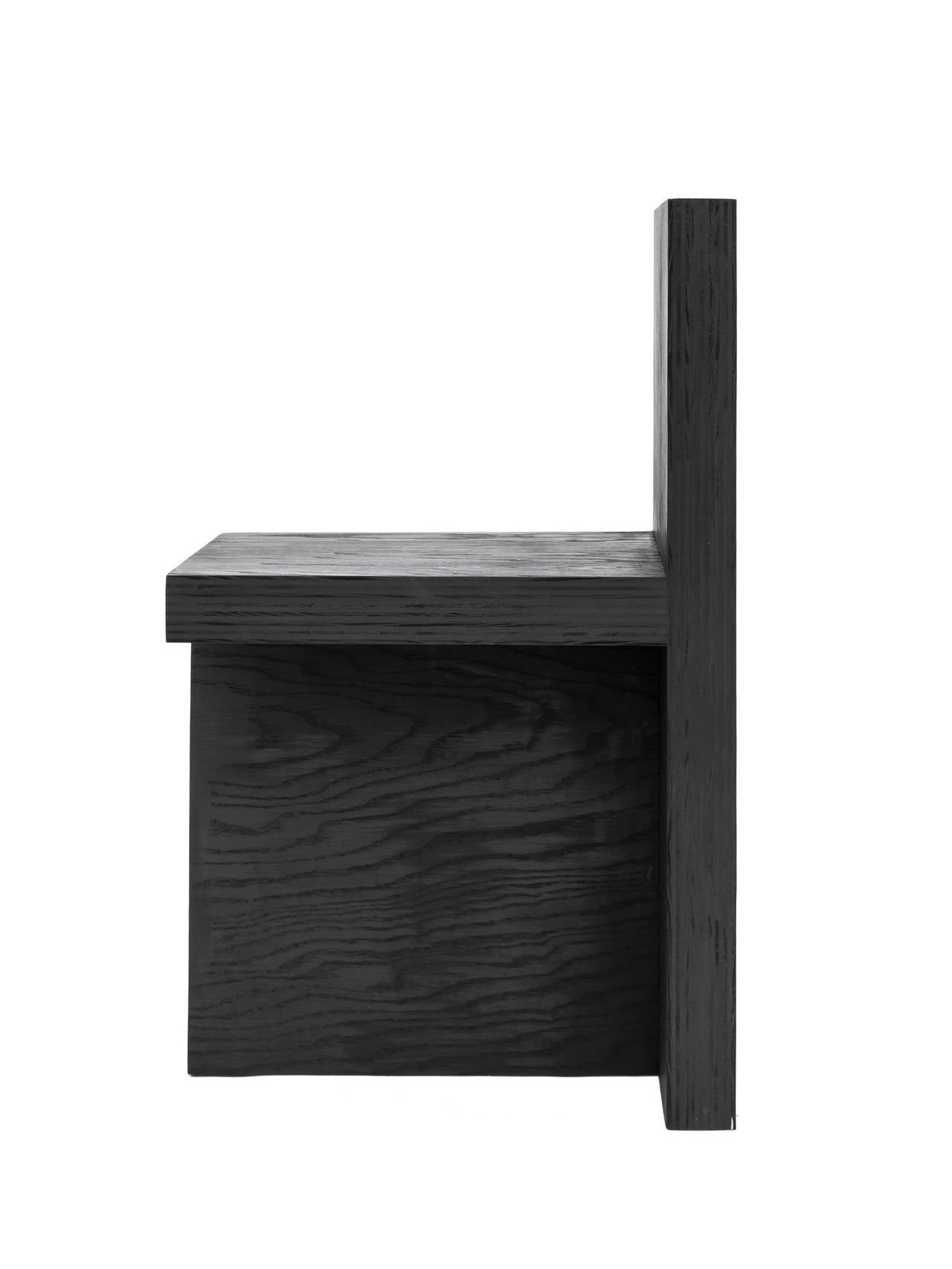 Minimalist 'Monument  IV' Plywood Chair in Black by Lukas Machnik For Sale