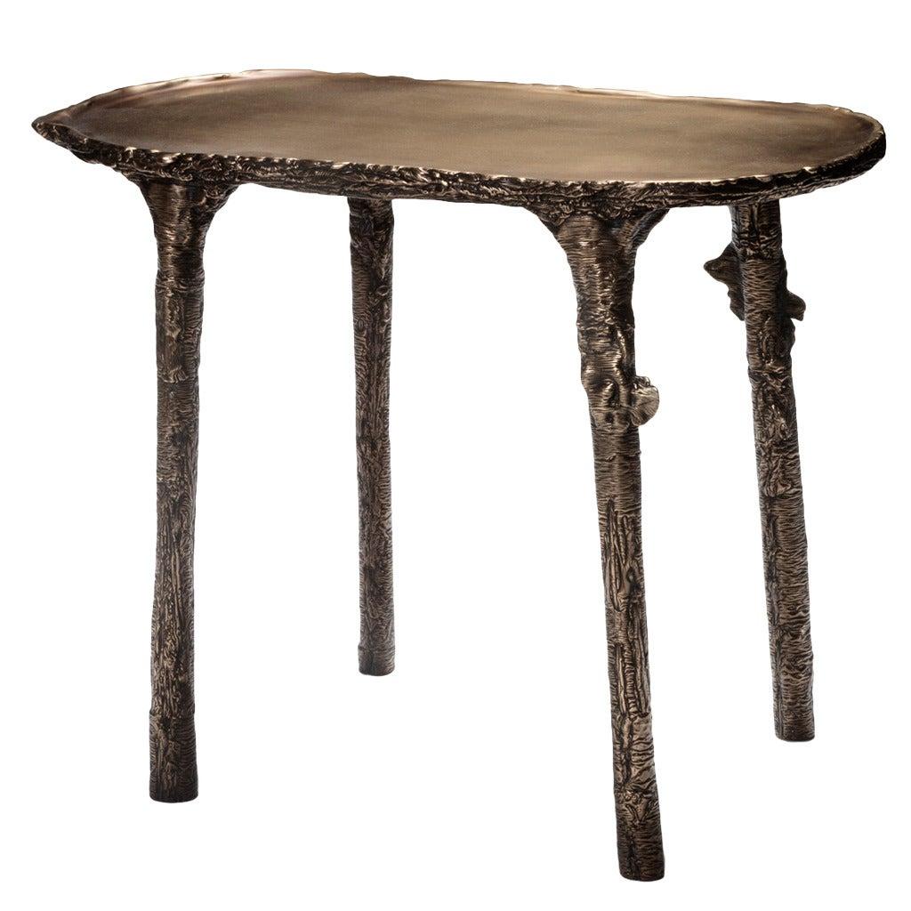 Ice Cast Bronze Side Table by Steven Haulenbeek