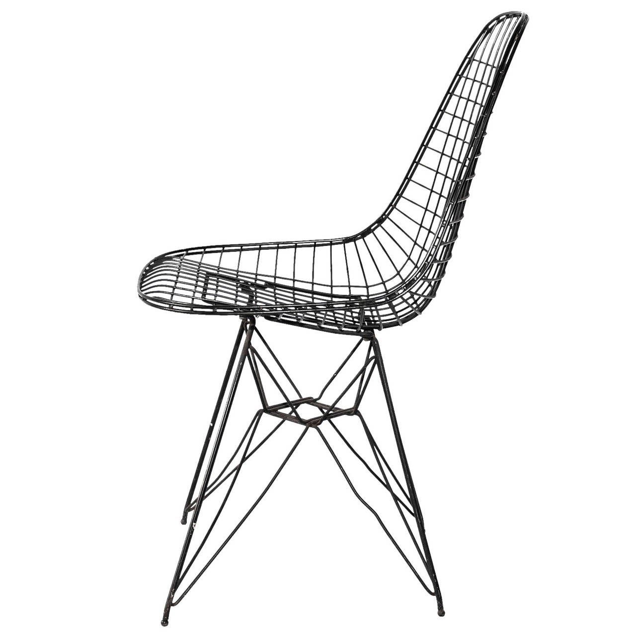Eames Wire Mesh Side Chair For Sale