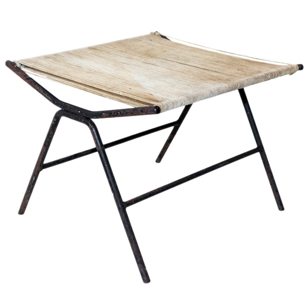Bowstring Iron Stool by Alan Gould For Sale