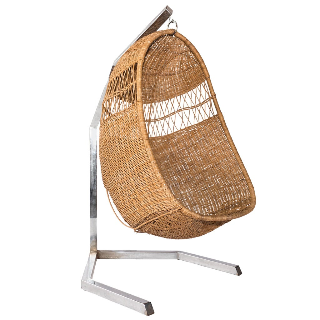 wicker swing chair at 1stdibs. Black Bedroom Furniture Sets. Home Design Ideas