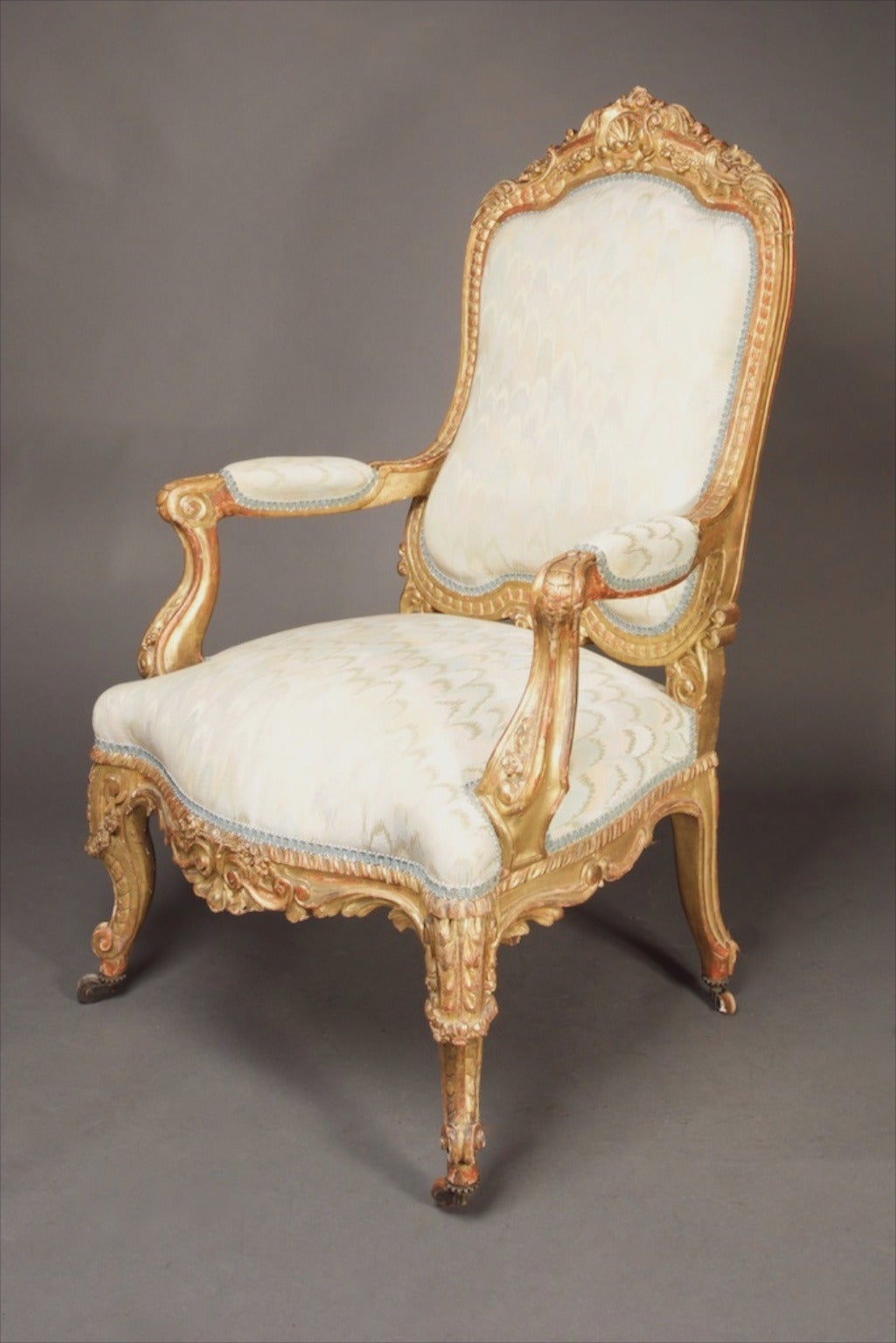 19th Century A Pair Of French Giltwood Fauteuils Louis Xv