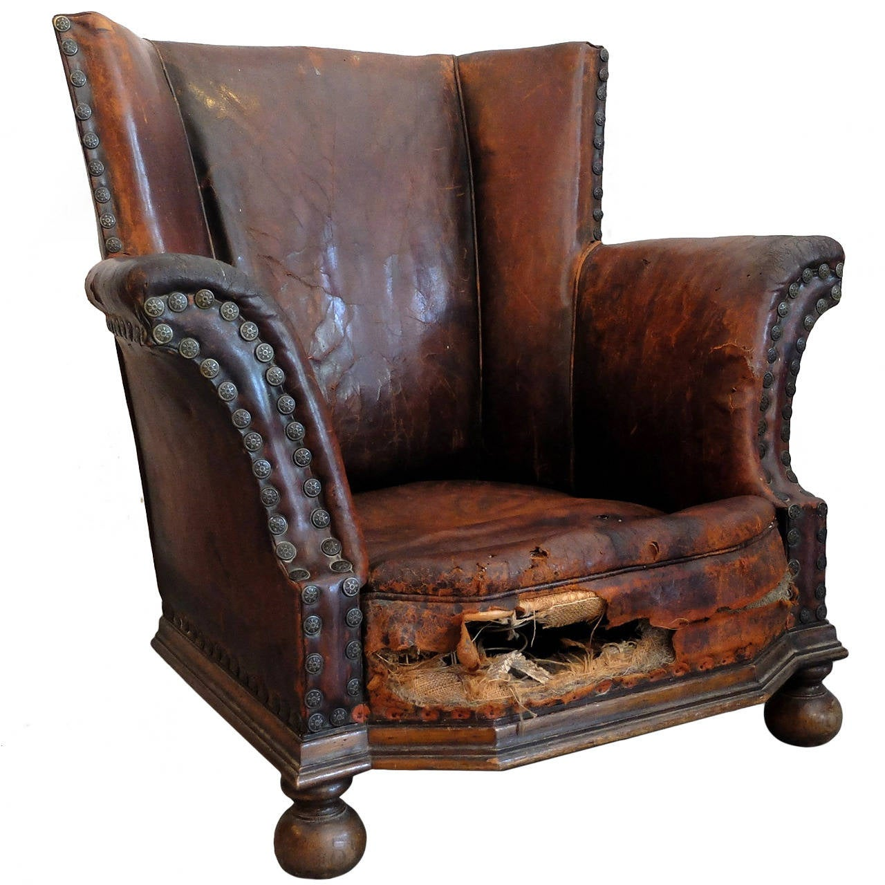 Distressed Leather Armchair At 1stdibs