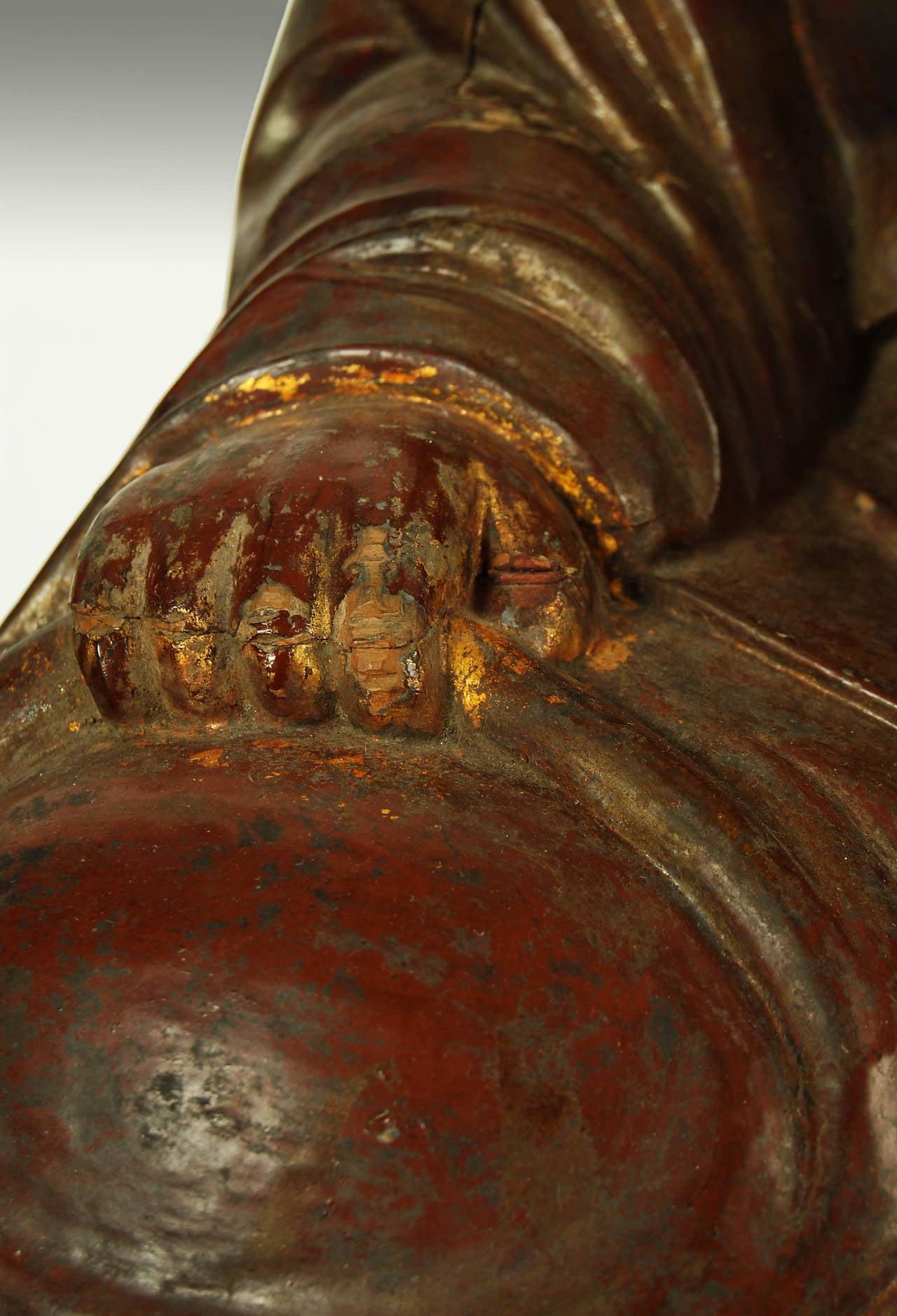 antique japanese carved statue of buddhist monk edo