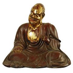 Antique Japanese Carved Statue of Buddhist Monk, Edo Period, circa 18th Century