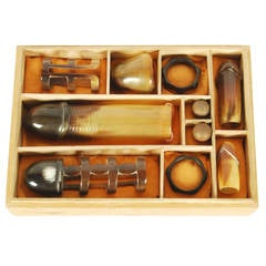 Antique Japanese erotic set made from buffalo horn, Meiji period c1900