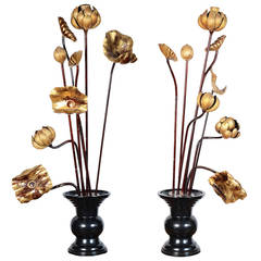 Antique Japanese Gilded Temple Flowers in Ceramic Vases