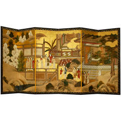 Antique Japanese Six-Panel Screen, Temple Scene