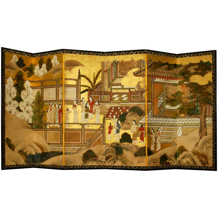 Antique Japanese Six-Panel Screen, Temple Scene For Sale