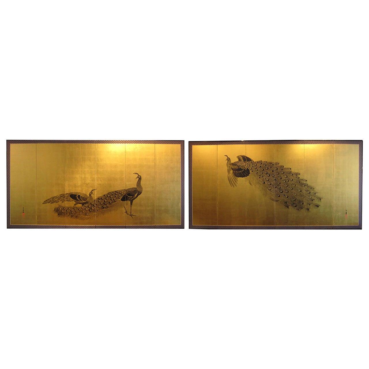 Pair of Japanese Screens by Imao Keinen