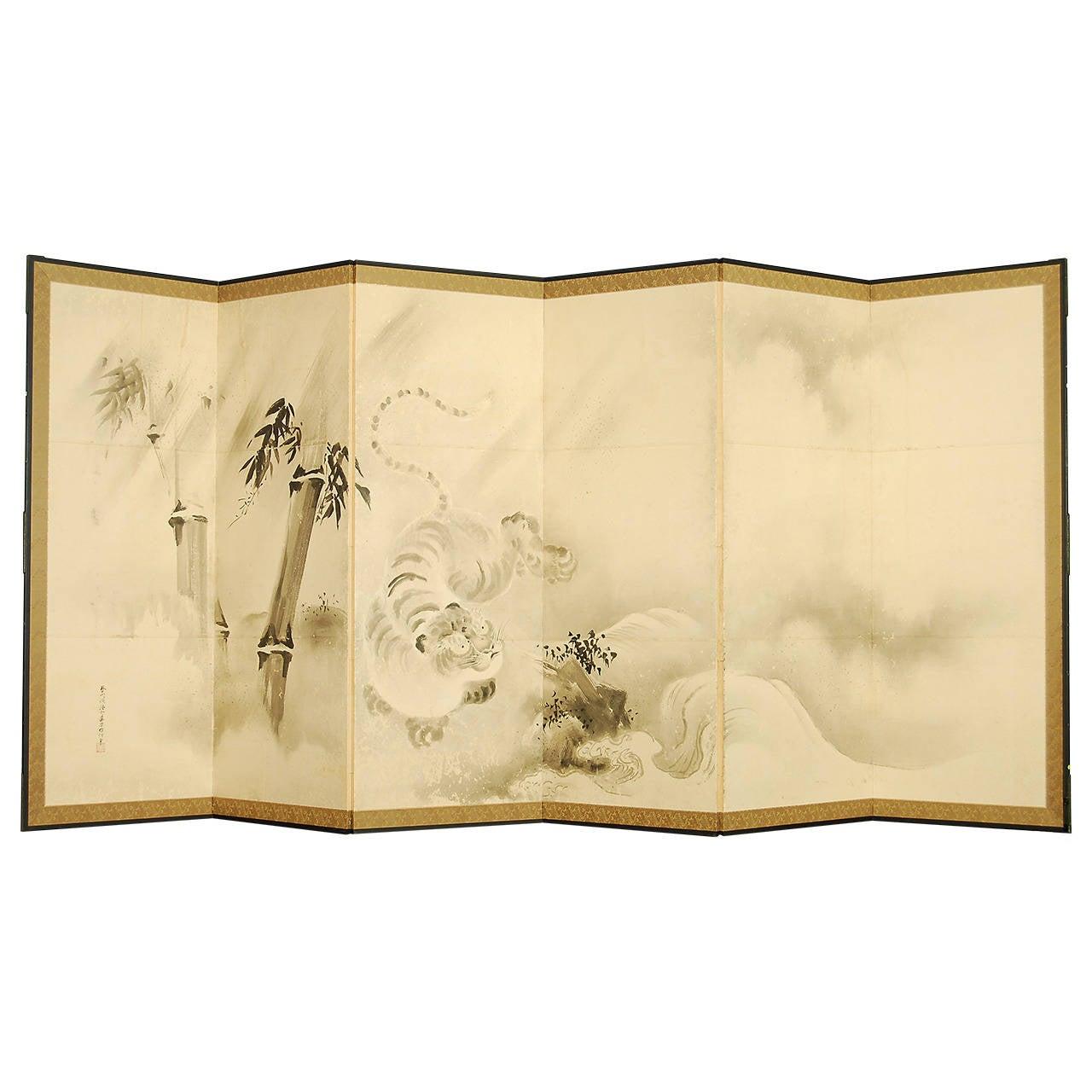 Antique Japanese Kano School Painting by Yosenin Korenobu