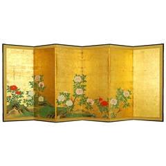Antique Japanese Six Panel Screen by Kano Chikanobu (Shushin) (1660 - 1728)