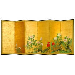 "Antique Japanese Six-Panel Screen by Kano Chikanobu ""Shushin"""