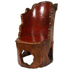 Antique Japanese Folk Art Chair