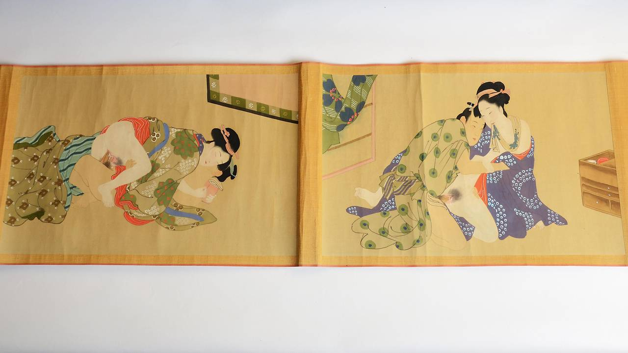 Vintage Japanese Erotic Shunga Scroll, Early 20th Century at 1stdibs