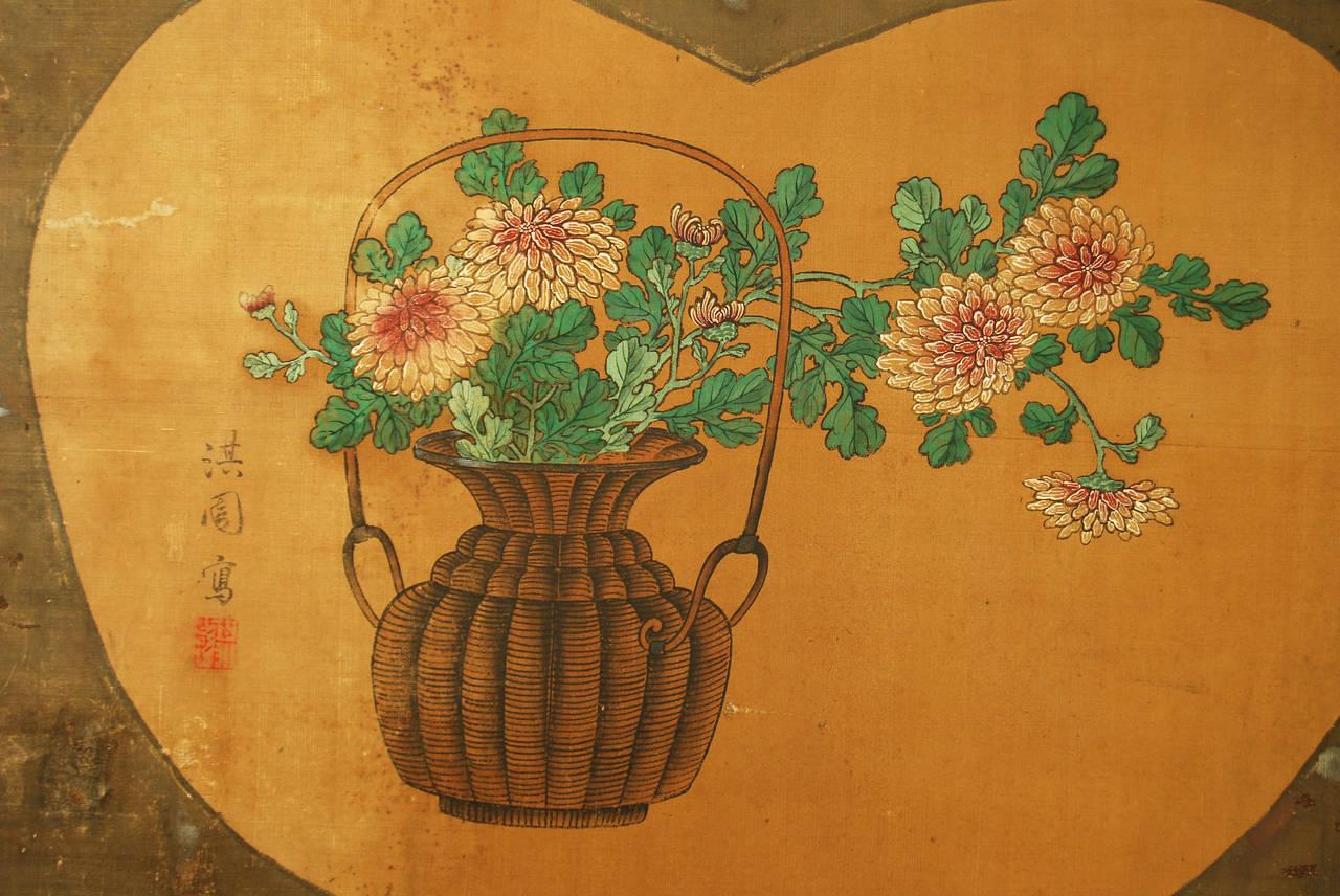 Edo Antique Japanese Two-Panel Screen by Yanagisawa Kien For Sale