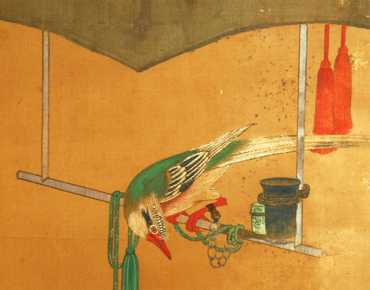 Antique Japanese two-panel screen from the Nagasaki School by Yanagisawa Kien (1704-1758).   Dimensions: W 182cm x H 63cm.  Kien was born at the residence of Kofu Domain during the Edo period. The domain lord of Kofu was Yanagisawa Yoshiyasu, a