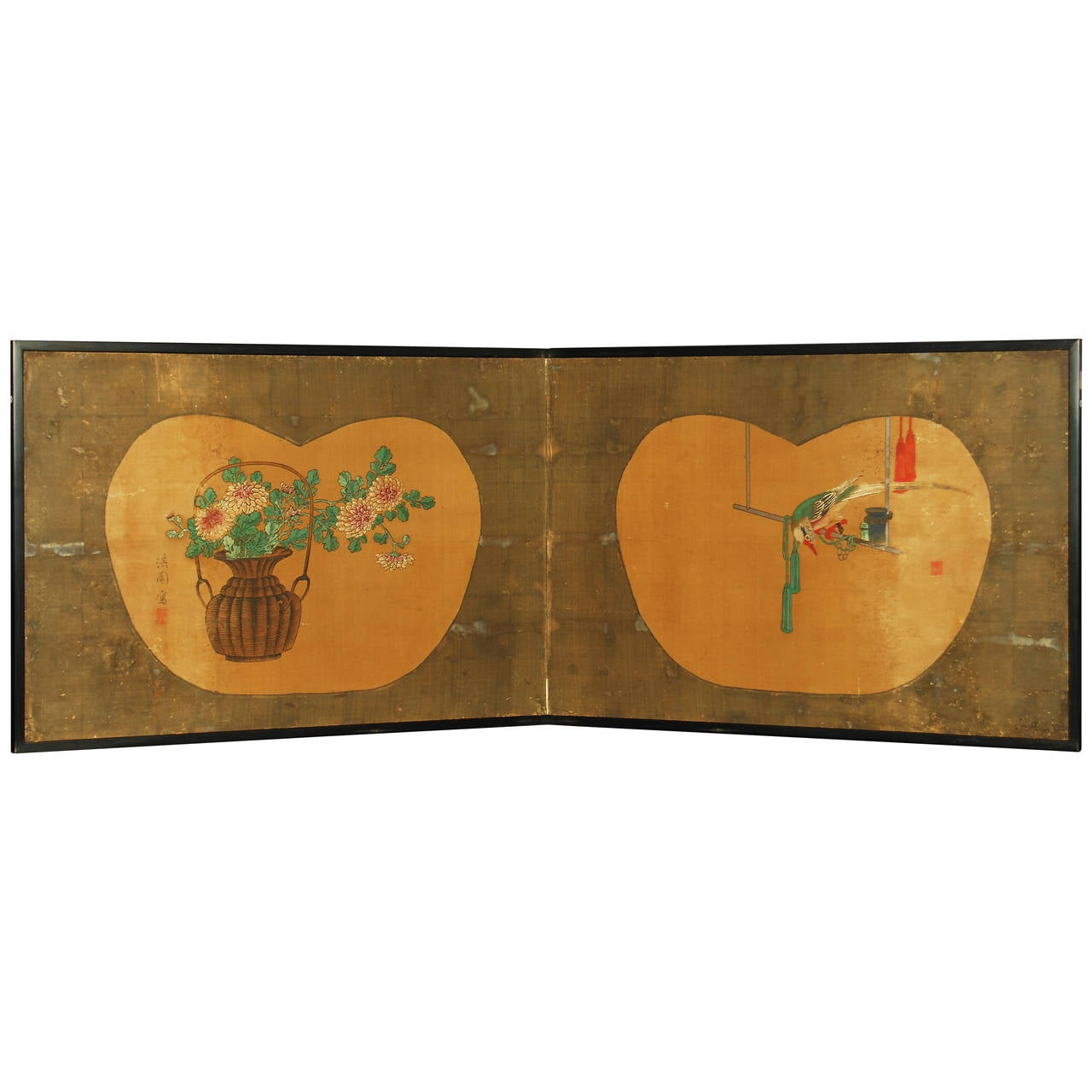 Antique japanese screens for sale - Antique Japanese Two Panel Screen By Yanagisawa Kien 1