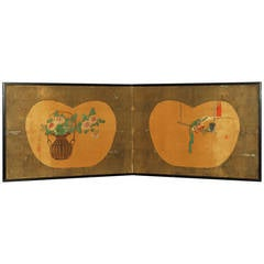Antique Japanese Two-Panel Screen by Yanagisawa Kien