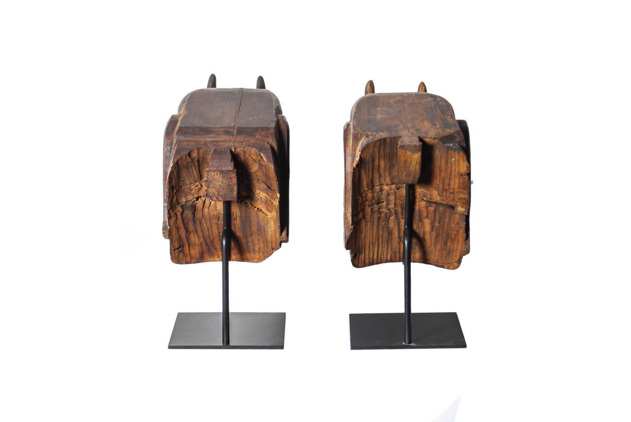 Cypress Pair of Antique Japanese Carved Baku Elephants, Edo Period, 18th Century For Sale