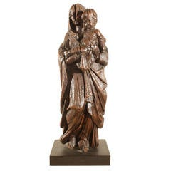 Italian 17th Century Carving of Madonna and Child Sculpture
