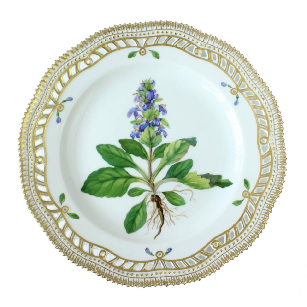 set of 12 royal copenhagen 39 flora danica 39 pierced. Black Bedroom Furniture Sets. Home Design Ideas