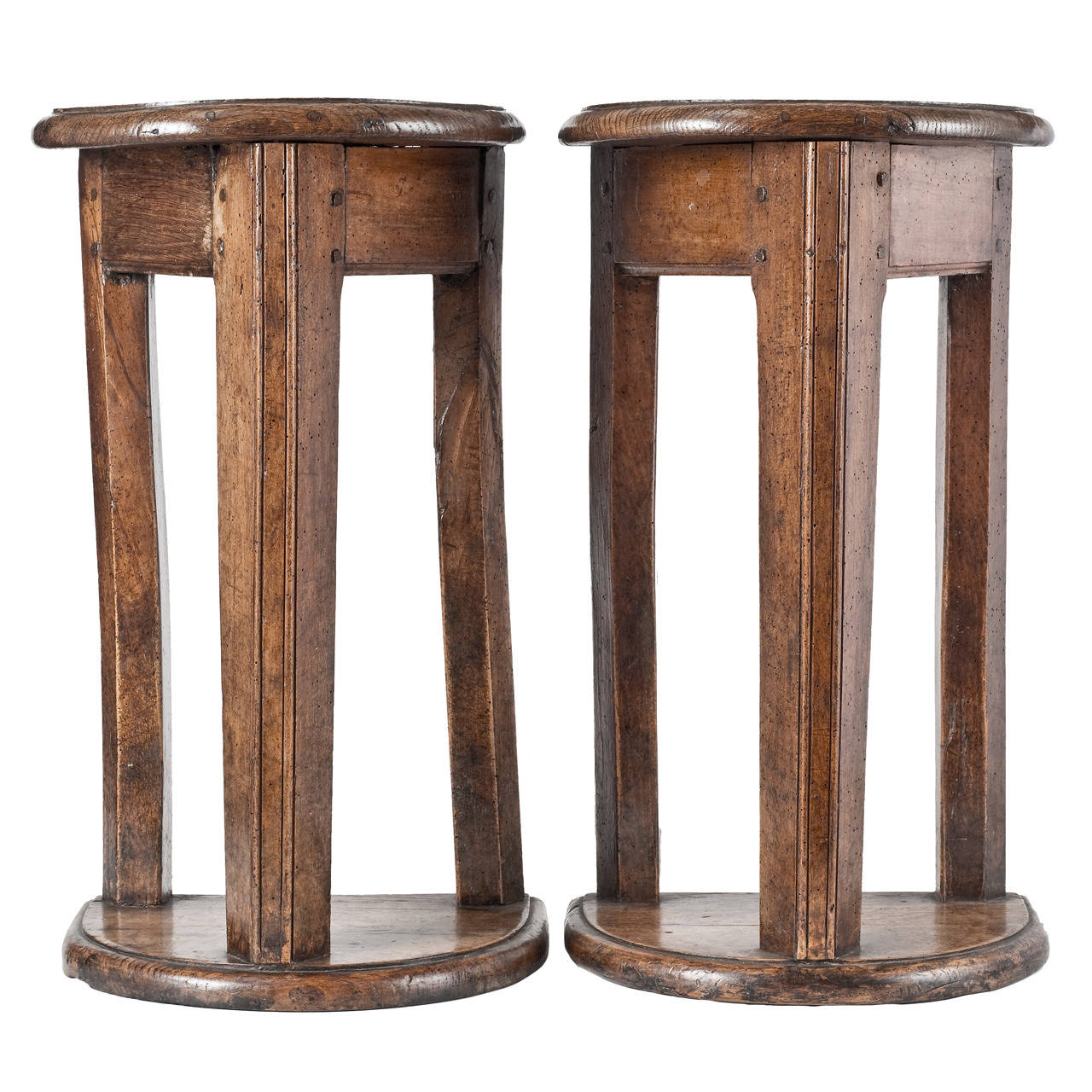 """Pair of Mid-17th Century French Walnut and Oak """"Tabourets de Chanters"""""""