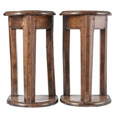 "Pair of Mid-17th Century French Walnut and Oak ""Tabourets de Chanters"""