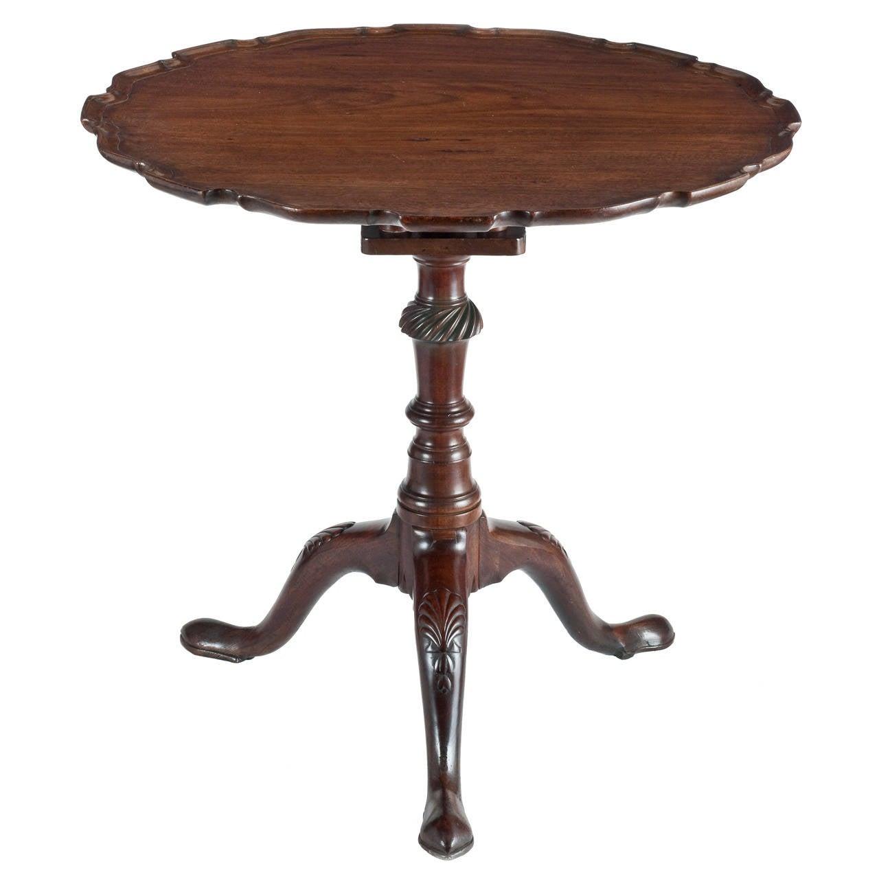 George III English Mahogany Pie Crust Edged Tilt-Top Wine Table