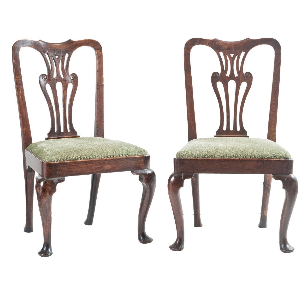 Pair Of 18th Century English Queen Anne Oak Occasional Chairs 1