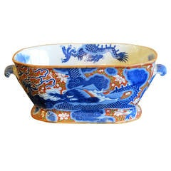 Rare English Chinoiserie Iron Red and Blue Printed Part Dinner Service