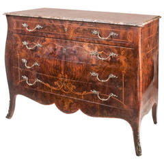 Late 19th Century French Book-Matched Figured Walnut Commode